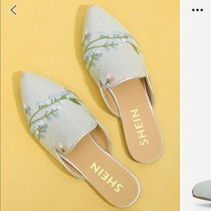EUC Embroidered Denim Mules